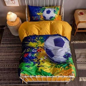 Soccer Ball 3D Design Printed Single Size Duvet Cover Bed Sheet Set of 4 Pieces