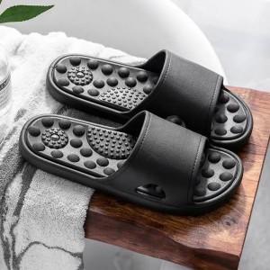 Quick Drying Bathroom Massage Slippers - Black