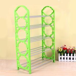 Creative Design 5 Layers Foldable Shoe Rack - Light Green