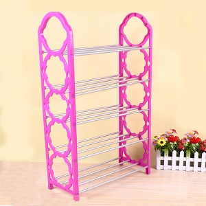 Creative Design 5 Layers Foldable Shoe Rack - Light Pink