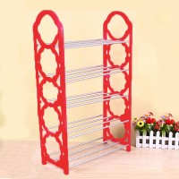 Creative Design 5 Layers Foldable Shoe Rack - Hot Pink