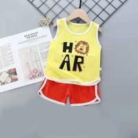Kids Cartoon Vest And Short Pajama Set - Red Yellow
