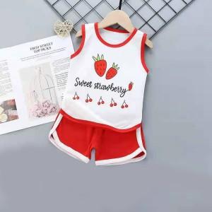 Kids Cartoon Vest And Short Pajama Set - Red White