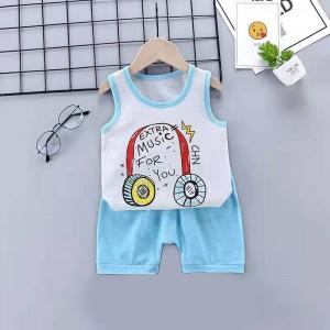Kids Cartoon Vest And Short Pajama Set - Sky Blue