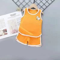 Kids Cartoon Vest And Short Pajama Set - Orange