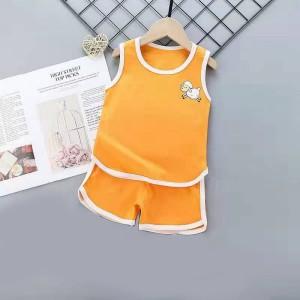 Kids Cartoon Vest And Short Pajama Set - Orange
