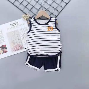 Kids Cartoon Vest And Short Pajama Set - Blue White