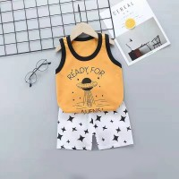 Kids Cartoon Vest And Short Pajama Set - Multi Color