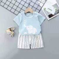 Kids Cartoon Top And Short Pajama Set - Sky Blue