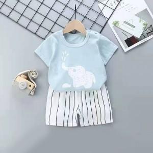 Kids Cartoon Top And Short Pajama Set - Sky Blue