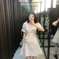 Short Sleeves Printed Design Summer Dress - White Red