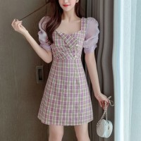Girls Sweet Puff Short Sleeve Dress - Light Purple