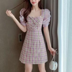 Girls Sweet Puff Short Sleeve Dress - Light Purple