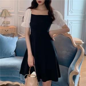 Woman Chiffon Stitching Puff Sleeve Dress - Black