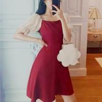 Woman Chiffon Stitching Puff Sleeve Dress - Wine