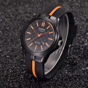 Fashion Silicone Sports Watch - Black Orange