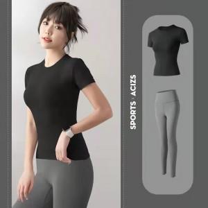 Women Running Gym Sports Yoga Suit - Black Grey