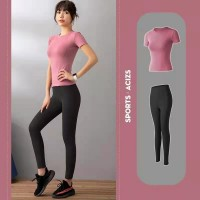 Women Running Gym Sports Yoga Suit - Black Pink
