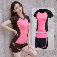 Stretch Slim Fast Drying Short Sleeve Yoga Suit - Rose Black