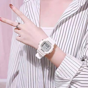 Girls Casual Candy Color Electronic Watch - White
