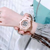 Girls Fashion Candy Color Electronic Watch - Pink
