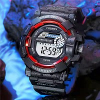 Boys Fashion Waterproof Electronic Watch - Black Red