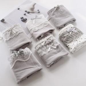 Set Of 6 Solid Color Cotton Fabric Underwear - Multicolor