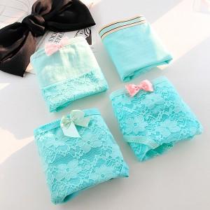 Set Of 4 Solid Color Cotton Fabric Underwear - Sky Blue