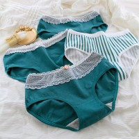 Set Of 4 Solid Color Cotton Fabric Underwear - Green