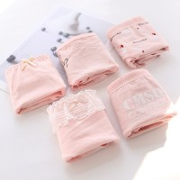 Set Of 5 Women Solid Color Breathable Luxury Wear Underwear Set - Pink