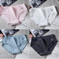 Set Of 4 Hip Lifting Low Waist Cotton Fabric Underwear - Multicolor