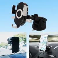 Universal Portable Silicone Sucker Car Mobile Phone Stand Holder - Black
