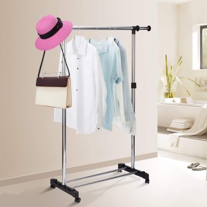 Single Pole Stainless Steel Clothes Hanger Rack With Wheels – Silver