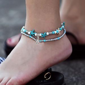 Tortoise Decoration Pendant Turquoise Ladies Anklet - Multi Color