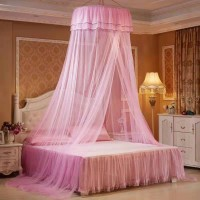 Romantic Hanging Round Mosquito Net For Bedroom - Light Pink