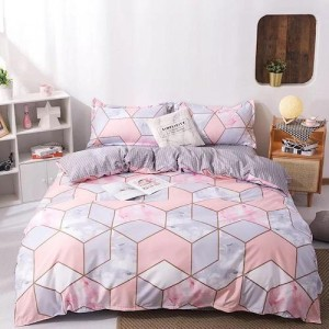 Marble Geometric Design King Size Set of 6 Pieces Bed Sheet