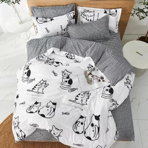 Cat Design Single Size Set of 4 Pieces Bed Sheet