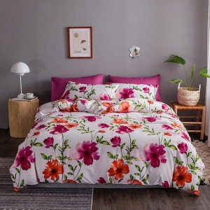Pink Flower Design Queen / Double Size Set of 6 Pieces Bed Sheet
