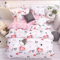Heart Design Single Size Set of 4 Pieces Bed Sheet