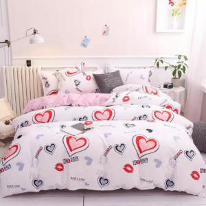 Heart Design Queen / Double Size Set of 6 Pieces Bed Sheet