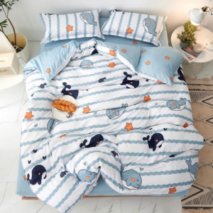 Whale Design Single Size Set of 4 Pieces Bed Sheet