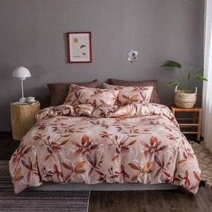 Leaves Design King Size Set of 6 Pieces Bed Sheet