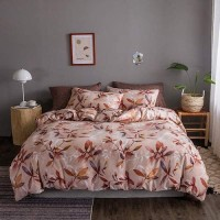 Leaves Design Queen / Double Size Set of 6 Pieces Bed Sheet