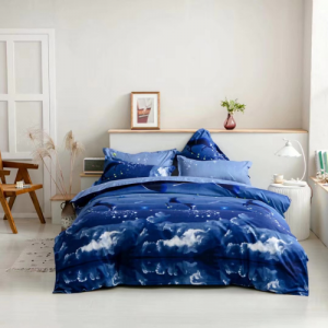 Blue Wave Design Queen / Double Size Set of 6 Pieces Bed Sheet