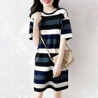 Ladies Striped Casual Short Sleeve Dress - Multi Color