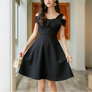 Ladies Strapless Waist Fashion Dress - Black