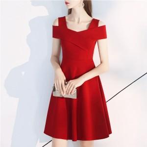 Ladies Strapless Waist Fashion Dress - Red