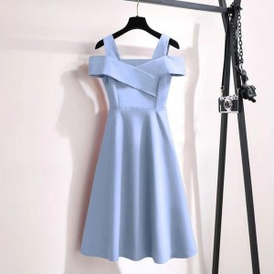 Ladies Strapless Waist Fashion Dress - Sky Blue