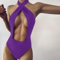 Wrapped Halter Neck Slim Fit Bodysuit - Purple