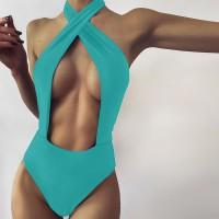 Wrapped Halter Neck Slim Fit Bodysuit - Green